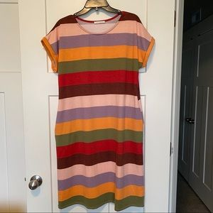 Reborn J Stripe Midi Dress with Pockets Large